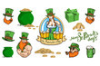 Set of different elements for the St.Patrick's Day. Saint Patrick's day Lettering. Heavenly patron of Ireland - Saint Patrick.
