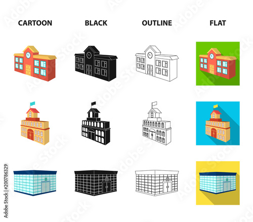 Bank office, skyscraper, city hall building, college building. Architectural and structure set collection icons in cartoon,black,outline,flat style vector symbol stock illustration web.