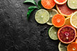 Mix of different citrus fruits closeup. Healthy diet vitamin concept. Food photography