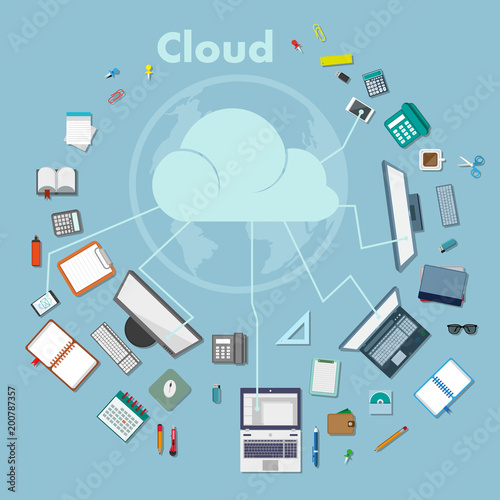 Set of different web elements. Cloud computing concept. Sending the folder to the computer cloud.