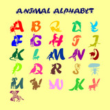 Full childish cute colorful vector alphabet with animals. All letters of the English ABC in the form of symbolic beasts - 200788126