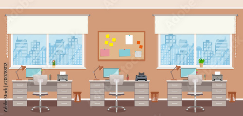Office interior design with three workplaces without people. Working indoor room template with furniture and windows.