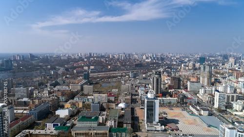 Foto op Plexiglas Kiev Aerial view above Kiev bussines and industry city landscape.