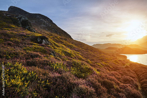 Piękny wibrujący wschodu słońca krajobraz nad Cregennen jeziorami z Cadair Idris w tle w Snowdonia