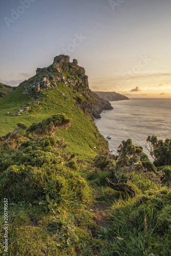 Plexiglas Donkergrijs Stunning Valley Of The Rocks landscape in Devon during Summer sunset