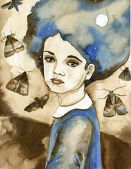 Watercolor portrait of a child in blue. © bruniewska
