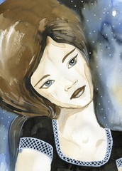 Fancy watercolor portrait of a woman. © bruniewska