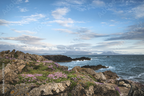 Foto op Aluminium Cappuccino Landscape view of Snowdonia mountain range from Angelsey at sunset
