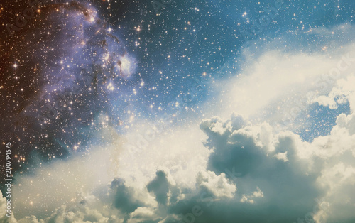 Poster Heelal Space Clouds Art Background Vintage Colors Wallpaper