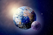 3D illustration planet Land, Sun and Moon in outer spaces - 200798182