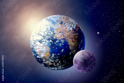 3D illustration planet Land, Sun and Moon in outer spaces