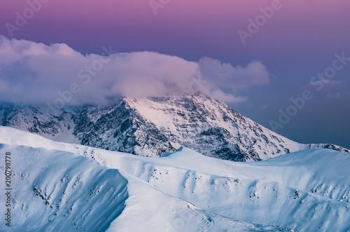 Winter sunet in Tatra Mountains, landscape of Krywan, Slovakia