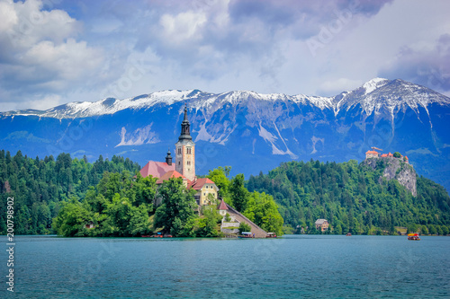 Lake Bled at the foothills of the Julian Alps, Slovenia. - 200798902