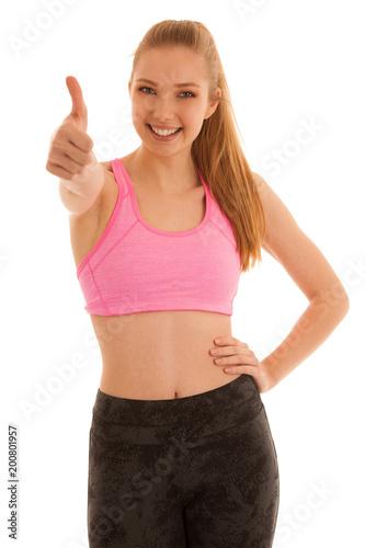 Piękna młoda dowcip kobieta pokazuje kciuk up jak gest dla sukcesu odizolowywającego nad bielem