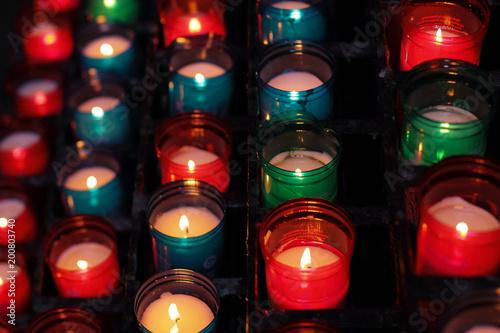 Foto op Canvas Barcelona candles lights in church, Montserrat monastery, Spain, editorial