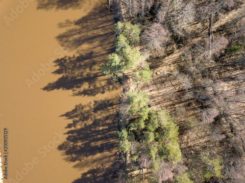 Foto op Canvas Natuur drone image. aerial view of forest river in spring. Gauja, Latvia