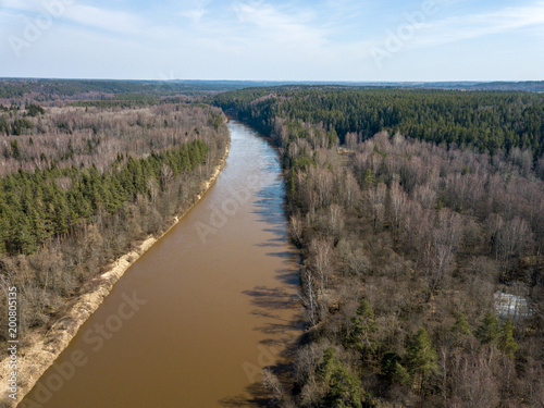 Plexiglas Zomer drone image. aerial view of forest river in spring. Gauja, Latvia