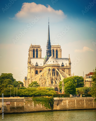 Wall mural Notre Dame de Paris at spring, France