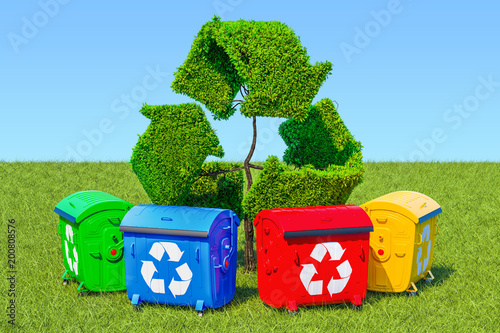 Garbage containers around tree in the shape of recycle sign in green grass against blue sky, 3d rendering