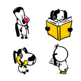 Cute dog reading book sticker set. Monochrome puppy collection design. Simple black white sketch vector illustration design. Comic character active funny animal pet. Happy friendly doggy collection.