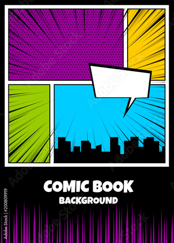 Fotobehang Pop Art Blank humor graphic. Pop art comics book magazine cover template. Cartoon funny vintage strip comic superhero, text speech bubble balloon, box message, burst bomb. Vector colored halftone illustration