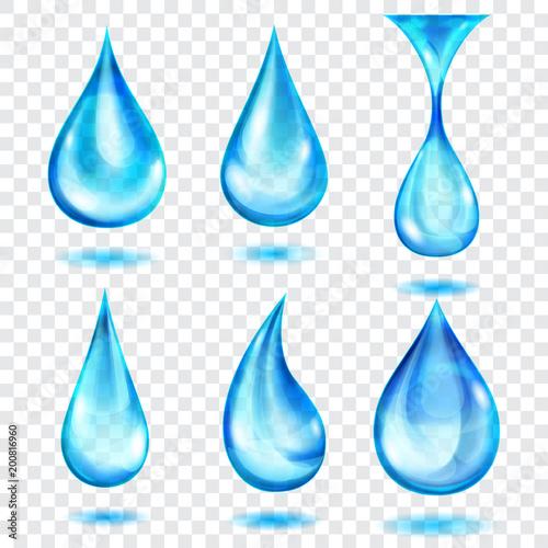 Zestaw półprzezroczystych kropli w kolorach niebieskim, na przezroczystym tle. Przejrzystość tylko w formacie wektorowym