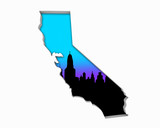 California CA Skyline City Metropolitan Area Nightlife 3d Illustration