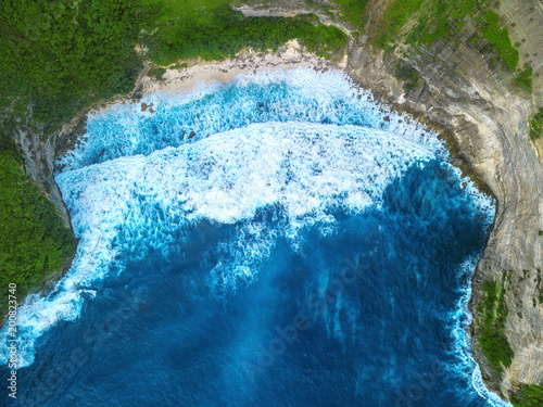 Fotobehang Bali incredible view from the air to the green island and the blue ocean