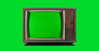 Leinwandbild Motiv Old Vintage Television with green screen