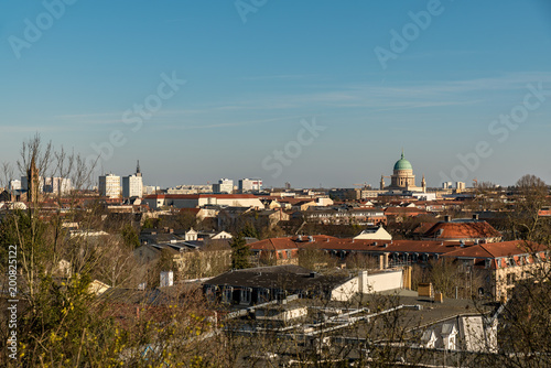 Foto op Plexiglas Blauwe jeans A cityscape of Potdsam with a view to the Nikolai church