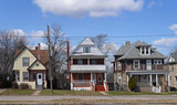 row of older houses in American suburb - 200827599