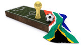 3D Soccer ball and trophy on grass patch with flag