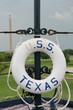 Weathered life ring float on the USS Texas battleship