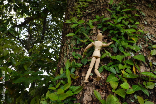 木登りをするデッサン人形