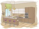 Kitchen room interior color graphic sketch illustration vector - 200836523