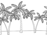Palm tree graphic black white seamless pattern background sketch illustration vector - 200837388