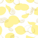 Lemon fruit graphic yellow color seamless pattern background sketch illustration vector - 200838773