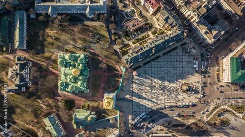 Foto op Plexiglas Kiev Kiev, Ukraine - April 7, 2018: Cathedral of St. Sophia in a spring sunny day with golden domes top view.