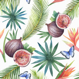 Watercolor vector seamless pattern of figs and palm trees isolated on white background. - 200841505