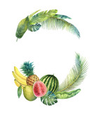Watercolor vector wreath tropical leaves and fruits isolated on white background. - 200841519