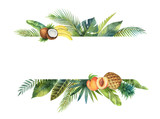 Watercolor vector banner tropical leaves and fruits isolated on white background. - 200841550