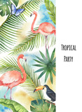 Watercolor vector vertical banner tropical leaves, Flamingo and Toucan isolated on white background. - 200841583