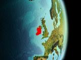 Ireland in morning from orbit