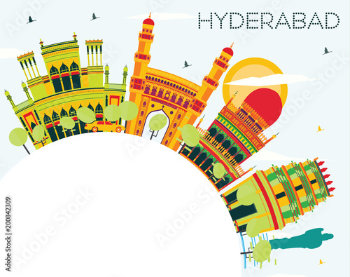 Hyderabad City Skyline with Color Buildings and Copy Space. - 200842309