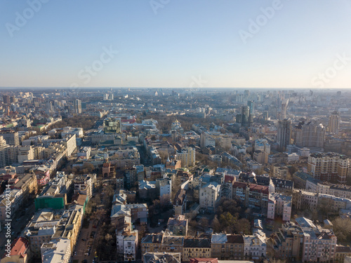 Landscape on the old city of Kiev with a spring sunny day. Photography from a drone