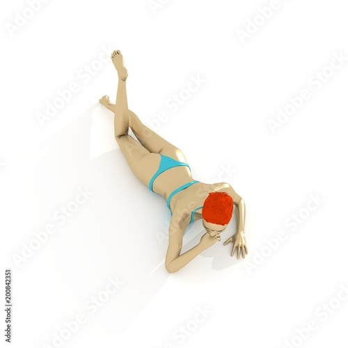 Beautiful sexy fitness girl lying. Pretty red head woman wearing turquoise bikini. Top view. 3d rendering