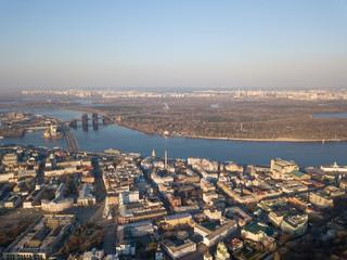 Aerial view Dnieper River and Podolsky District, Kiev, Ukraine