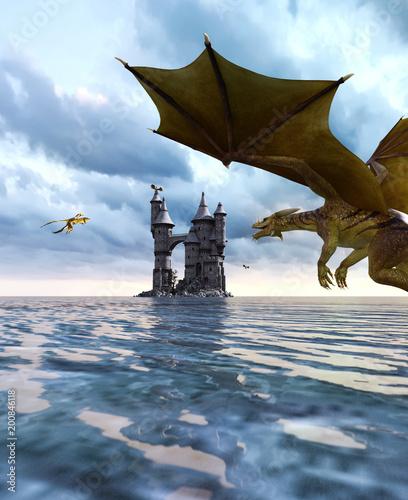 3d Fantasy dragon in mythical island