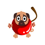 Cute funny pug dog character inside sweet cherry vector Illustration on a white background