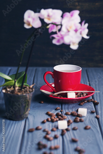 coffee with orchid - 200850718